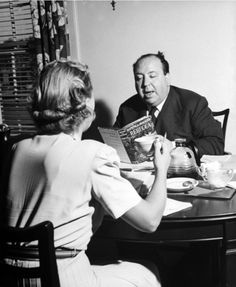 Alfred Hitchcock reading Rebecca to Joan Fontaine