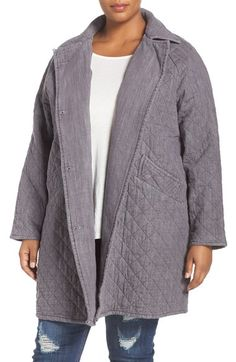 Melissa McCarthy Seven7 Quilted Denim Car Coat (Plus Size) available at…