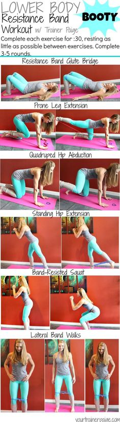 Body: Resistance Band Booty Workout Resistance band workout to get strong legs, butt and core. These exercises will…Resistance band workout to get strong legs, butt and core. These exercises will… Fitness Workouts, At Home Workouts, Fitness Tips, Health Fitness, Band Workouts, Workout Kettlebell, Fitness Foods, Zumba Fitness, Hiit
