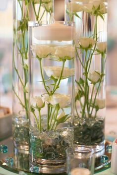 Luxe modern wedding, submerged roses