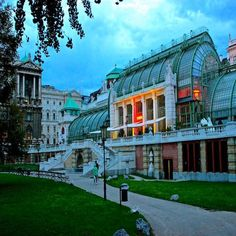 The Palm Greenhouse - part of the Imperial Hofburg Palace in Vienna Austria. Today it holds a Buttefly Garden and cafe  Country: #Austria | City: #Vienna