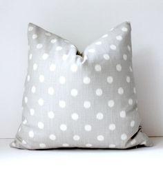Grey + polka dot pillow