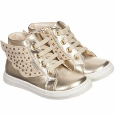 Step2wo Girls Gold Leather 'Angel' Trainers with Gems & Wings at Childrensalon.com