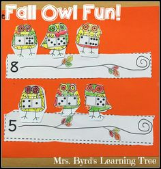 Mrs. Byrd's Learning Tree: Crazy about Owls! ~ Owl art, November Calendars, fine motor, and number bond practice. Fun fall activities in Kindergarten!