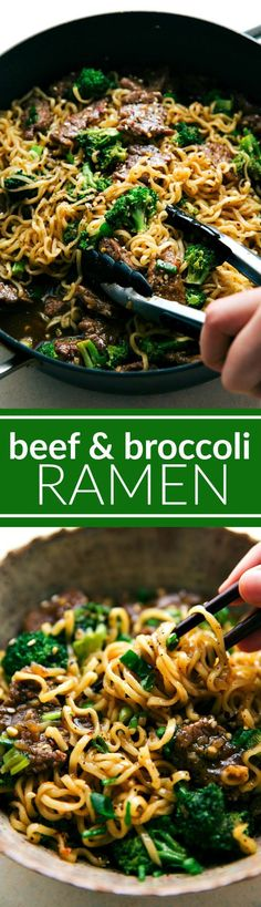 The BEST EVER beef and broccoli served over ramen! Recipe via http://chelseasmessyapron.com