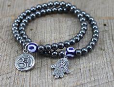 Yoga Hematite Bracelet with Om Charm, Hamsa Charm, Evil Eye Bead Simple Bracelets, Bracelets For Men, Stretch Bracelets, Good Luck Bracelet, Hematite Bracelet, Yoga Bracelet, Boho Jewelry, Beaded Jewelry, Jewellery