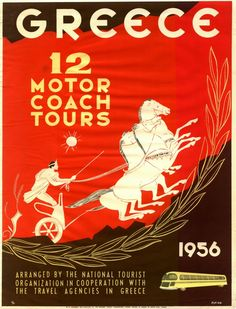 Photograph-Poster advertising motor coach tours in Greece-Photograph printed in the USA Tourism Poster, Poster Ads, Vintage Travel Posters, Vintage Ads, Old Posters, Greece History, Coach Tours, Greece Holiday, Framed Prints