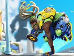"Lucio by Raichiyo33 | ""I was commissioned by Blizzard to draw one of the character in their upcoming game Overwatch. I got Lucio the DJ freedom fighter. In drawing him I immediately thought of extreme sports like snowboarding or rollerblading. The sports and the athletes movements really helped me with figuring out the pose for him along with other inspirational characters from past early 2000's games, which I was really fond of when I was young."" —Raichiyo33"