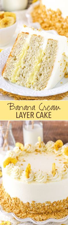 Banana Cream Layer Cake Banana Cream Layer Cake - moist banana cake layers filled with fresh vanilla pastry cream! Mini Desserts, Delicious Desserts, Baking Desserts, Cake Baking, Health Desserts, Yummy Food, Weight Watcher Desserts, Cake Recipes, Dessert Recipes