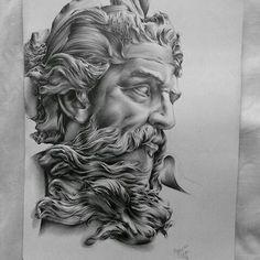 tattoo zeus design ~ tattoo zeus - tattoo zeus mythology - tattoo zeus preto e cinza - tattoo zeus poseidon - tattoo zeus greek gods - tattoo zeus design - tattoo zeus realismo - tattoo zeus antebraço Zeus Tattoo, Statue Tattoo, Tattoo L, Forearm Tattoos, Tattoo Drawings, Body Art Tattoos, Wall Tattoo, Tattoo Sketches, Pencil Drawings