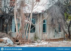 Neglected Ruined And Destroyed Building Slowly Falling Apart Stock Image - Image of abandoned, concrete: 185334481 Derelict Buildings, Building Exterior, Falling Apart, Abandoned, Concrete, House Styles, Plants, Image, Left Out