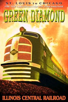 USA - Illinois - Illinois Central Rail Road ICRR vintage travel poster