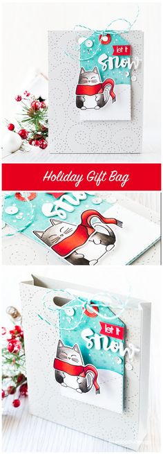 Holiday Gift Bag. Find out more by clicking on the following link: http://limedoodledesign.com/2015/12/holiday-gift-bag/ cat tag snow