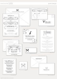 Aerialist Press // Gatsby Letterpress Wedding Invitation // Fitzgerald, 1920s, Vintage Invitation
