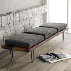 like this bench as a table. hair pin legs, rounded corners on the reclaimed, well oil/waxed table top.