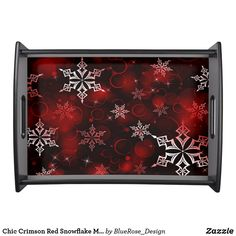 Chic Crimson Red Snowflake Motif Serving Tray Holiday Cards, Christmas Cards, Christmas Decorations, Natural Wood Finish, Christmas Items, Christmas Card Holders, Keep It Cleaner, Snowflakes, Party Supplies