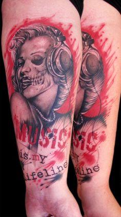 marilyn trash polka tattoo