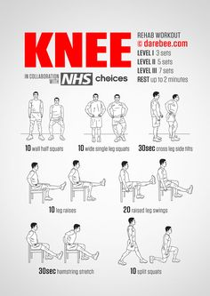 - Knee Rehab Workout in 3 level, happy workout! Knee Rehab Workout in 3 level, happy workout! Knee Strengthening Exercises, Chair Exercises, Arthritis, How To Strengthen Knees, Back Pain, Pain Relief, Health Benefits, At Home Workouts, How To Plan