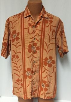 Tommy Bahama Hawaiian Shirt L Mens Orange Rust Floral Tencel Striped #TommyBahama #Hawaiian