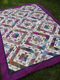 Ugly fabric challenge .... beautiful!  Block is 'Mary's Triangles' by Sally Schneider