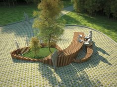 Models Blending Imagination with Modern Ideas for Backyard Designs models help create unusual and original backyard designs and envision very personal or super modern ideas that challenge even the latest trends in design Landscape Elements, Landscape Architecture Design, Urban Landscape, Concept Architecture, Urban Furniture, Street Furniture, Outdoor Furniture, Planer Layout, 3d Modelle