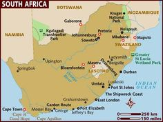 South Africa, officially the Republic of South Africa, is a country located at the southern tip of Africa. It is divided into nine provinces and has 2,798 kms of coastline. Capitals: Cape Town, Pretoria, Bloemfontein, Free State; Dialing code: 27; Population: 50,586,757 (2011); Currency: South African rand GDP: 408.2 billion USD (2011); Official language: Afrikaans, English, Zulu, Xhosa, Tsonga, Sotho, Southern, Swati, Tswana, Sotho, Northern, Venda, Ndebele.