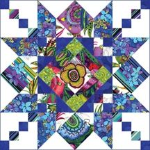 One block of Susie Robbins' new quilt.  Free pattern soon to be available at http://pbtex.com/html/free_patterns.html