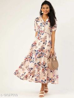 Checkout this latest Dresses Product Name: *Trendy Fashionable Printed Women Dresses VOL.2* Fabric: Crepe Sleeve Length: Short Sleeves Pattern: Printed Multipack: 1 Sizes: S (Bust Size: 36 in, Length Size: 52 in)  M (Bust Size: 38 in, Length Size: 52 in)  L (Bust Size: 40 in, Length Size: 52 in)  XL (Bust Size: 42 in, Length Size: 52 in)  XXL (Bust Size: 44 in, Length Size: 52 in)  Country of Origin: India Easy Returns Available In Case Of Any Issue   Catalog Rating: ★4 (487)  Catalog Name: Fancy Glamorous Women Dresses CatalogID_2292342 C79-SC1025 Code: 304-12027509-2001