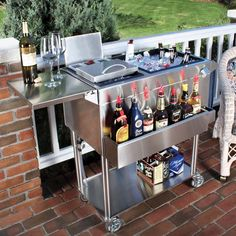 Portable Home Cocktail Station Cart at Brookstone—Buy Now! Bar Portable, Portable House, Mobile Bar, Backyard Bar, Backyard Ideas, Outdoor Kitchen Design, Outdoor Kitchens, Outdoor Spaces, Decoration