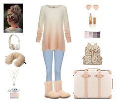 """Contest: Nude Pink Casual Outfit For A Trip"" by billsacred ❤ liked on Polyvore featuring Topshop, Candie's, Joie, Go Travel, Linda Farrow, Globe-Trotter, Beats by Dr. Dre, Chloé, tarte and UGG Australia"