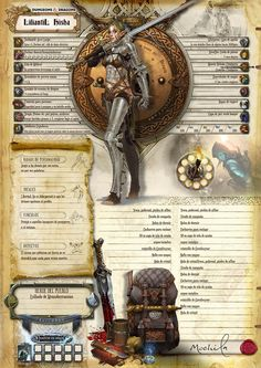 DELUX DyD5ta Hoja de personaje(Español) - El Tesoro del Dragon. Hoja de personaje dungeons and Dnd Character Sheet, Character Reference, Character Development, Character Concept, Character Design, Dungeons And Dragons Homebrew, D&d Dungeons And Dragons, Fantasy Weapons, Dnd Characters