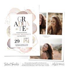 Graduation Invitation 2021 World Awaits Graduation Party Invite Graduation Announcement Printable Printed Download Girls Map Postcard AD1