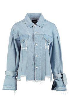 fern veste longue en jean aspect vieilli nouée aux manches Manteau, Veste,  Longues, da5478c3f2c5