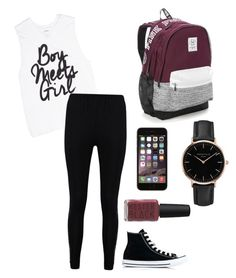 """""""Boy Meets Girl"""" by thepastelbear ❤ liked on Polyvore featuring Boohoo, Converse, Victoria's Secret, Topshop and Kester Black"""
