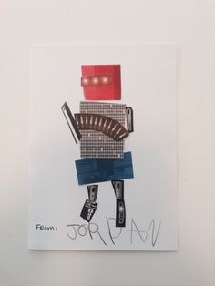 Handmade robot thank you card
