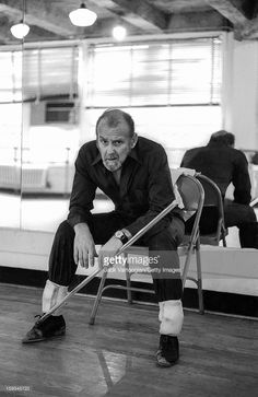 Portrait of American dancer and choreographer Bob Fosse (1927 - 1987) as he sits on a folding chair in front of a mirror at the Broadway Arts Studio (1755 Broadway at 55th Street), New York, New York, January 30, 1980.