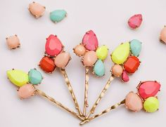 Upcycle old #jewelry by creating colorful, custom accessories!  DIY Jeweled Bobby Pins - Inspired By This