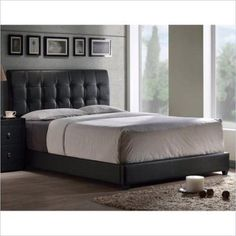 Hillsdale Furniture Lusso Queen Bed with Bedframe, Black Faux Leather