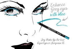 "Grey Eyes - Try a sheer blue shadow or a bright turquoise liner to play up steely gray eyes beautifully,"" suggests Dedivanovic. Formulated to withstand even underwater emersion for synchronized swimmers, Aqua Eyes by Make Up For Ever comes in a brilliant turquoise shade you can count on to stay put  Visit us at http://www.youbeauty.com/"