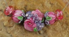 Lampwork Beads, Glass Beads, Handmade, Red Roses, Pink Flowers Garden Flowers, Rose Buds, Spring, Flowers, SRA #372 by CC Design