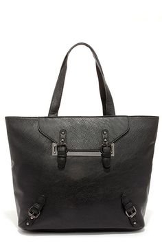 ff1049a19765 Cute Black Tote - Black Purse - Buckle Purse - Vegan Leather Tote -  45.00  Work