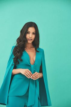 Tie Front Fitted Cape Blazer in Jade Green Jade Green, Cape, Romance, Blazer, Fitness, Collection, Style, Fashion, Romance Film