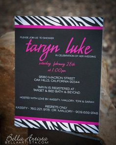 Hot Pink and Zebra Birthday Party Invitation Can be printed or sent