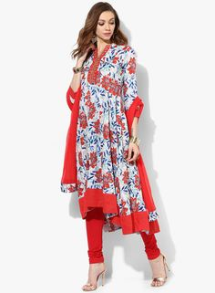 c78181b340f Buy Sangria Multicoloured Embroidered High Low Kalidar Kurta Alongwith Red  Color Churidar And Red Dupatta Online - 3254620 - Jabong
