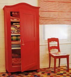 Attrayant Painted Armoire: Red And White Tromp Lu0027oeil Curtains |  Painting/Staining/Waxing  Furniture | Pinterest | Armoires, Paint Furniture  And Interiors