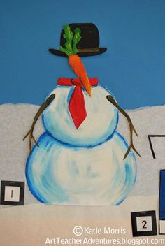 Adventures of an Art Teacher: Art History different artist styles for snowmen, Magritte, The Son of Man. Art History Lessons, 8th Grade Art, Winter Art Projects, Middle School Art, High School, Art Lessons Elementary, Art Activities, History Activities, Preschool Art