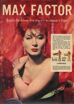 1950's lipstick advertisement images | Vintage Max Factor Lipstick Advert: Picturegoer April 18 1959 | Flickr ...