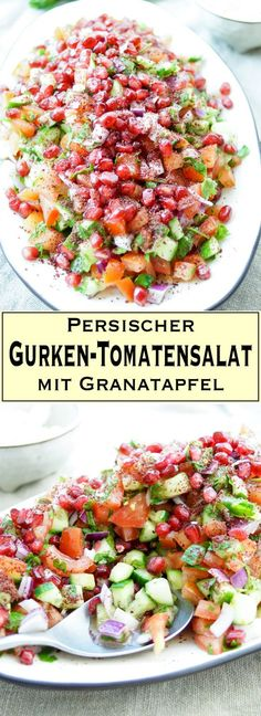 Persischer Gurken-Tomatensalat mit Granatapfel The recipe for Persian cucumber tomato salad with pomegranate and sumac can be served with crumbly Summer Dishes, Summer Salads, Healthy Salad Recipes, Raw Food Recipes, Pomegranate Recipes, Pomegranate Salad, Cucumber Tomato Salad, Cucumber Drink, Avocado Dessert
