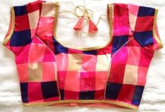Designer Readymade PINK New Art Silk Wedding Saree Floral Printed Stitched Blouse Crop Sari Top Par Latest Blouse Neck Designs, Blouse Designs High Neck, Simple Blouse Designs, Back Neck Designs, Kurti Neck Designs, Sleeve Designs, Saree Floral, Mirror Work Blouse, 1 Piece