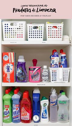 Como Arrumar o Armário de Limpeza - Vamos Receber Home Organization Hacks, Pantry Organization, Organizing, Laundry Decor, Ideas Para Organizar, Personal Organizer, Trendy Home, Home Hacks, Interior Design Kitchen